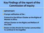 key findings of the report of the commission of inquiry2