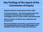 key findings of the report of the commission of inquiry3