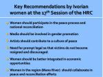 key recommendations by ivorian women at the 17 th session of the hrc