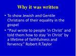why it was written