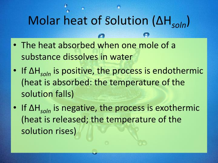 Molar heat of solution (