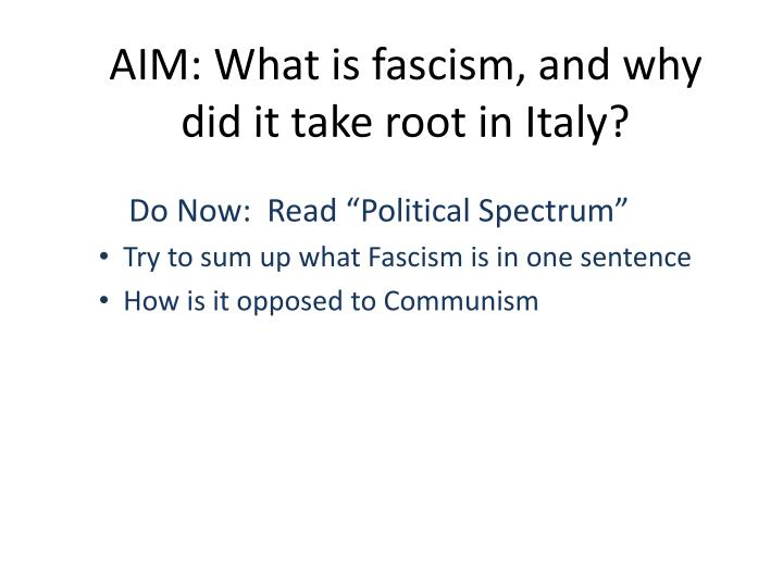 aim what is fascism and why did it take root in italy n.