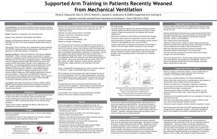 supported arm training in patients recently weaned from mechanical ventilation n.