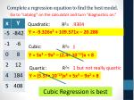 complete a regression equation to find the best model