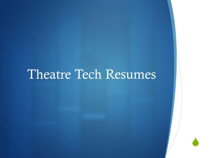 theatre tech resumes n.