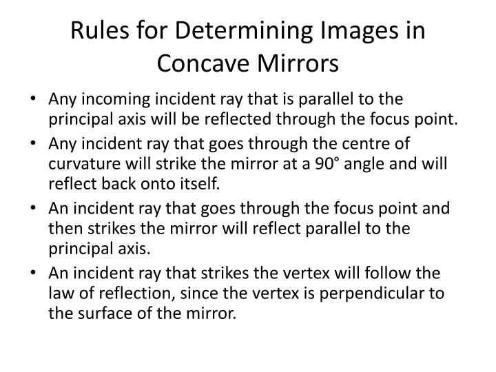 Rules for Determining Images in Concave Mirrors
