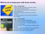 what to do to keep pace with those trends