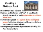 creating a national bank