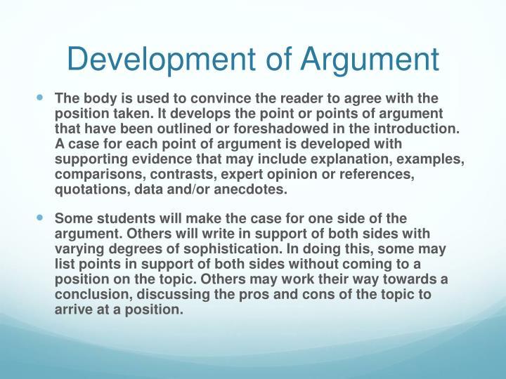 Development of Argument