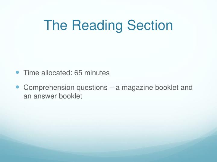 The reading section