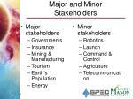 major and minor stakeholders