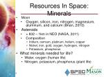 resources in s pace minerals