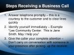 steps receiving a business call