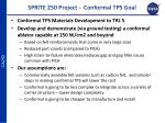 sprite 250 project conformal tps goal
