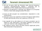 parametri dimensionali pmi