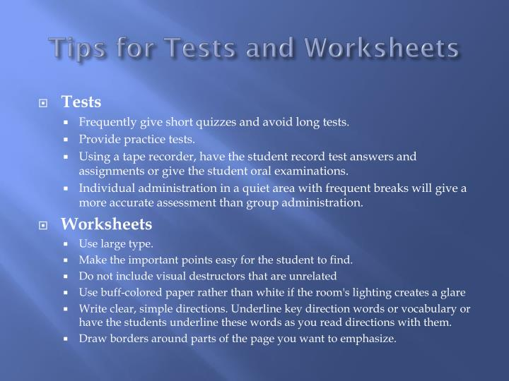 Tips for Tests and Worksheets