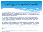 discharge planning what to do