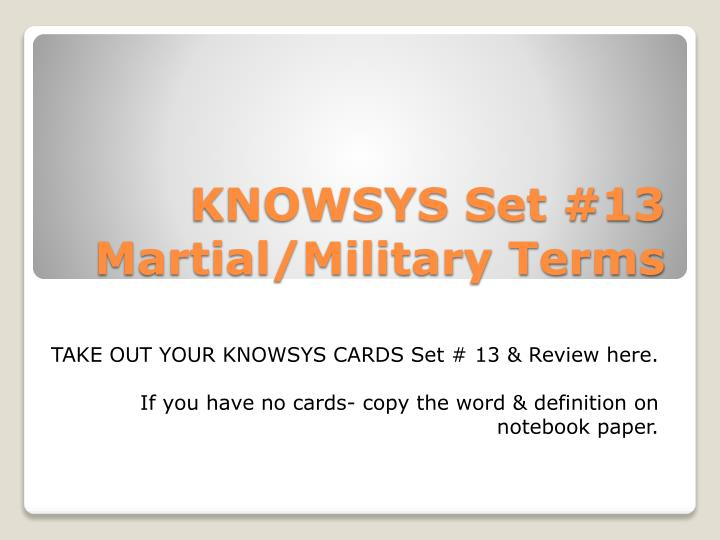 knowsys set 13 martial military terms n.