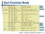 sort function body1