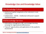 knowledge use and knowledge value
