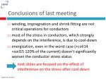 conclusions of last meeting
