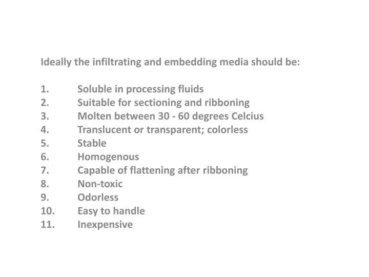 Ideally the infiltrating and embedding media should be: