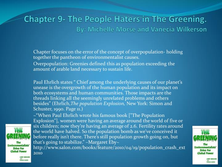 chapter 9 the people haters in t he greening by michelle morse and vanecia wilkerson n.