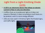 light from a light emitting diode led