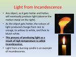 light from incandescence