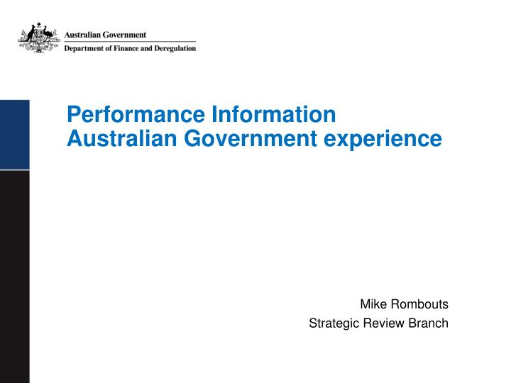 performance information australian government experience n.