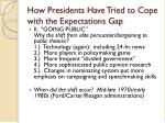 how presidents have tried to cope with the expectations gap
