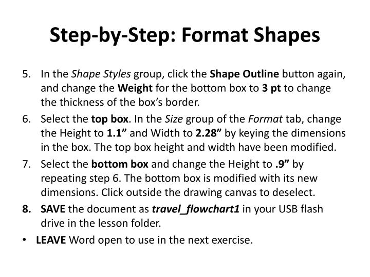 step by step format shapes n.