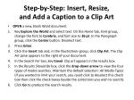 step by step insert resize and add a caption to a clip art