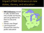 impact of nw ordinance on new states slavery and education