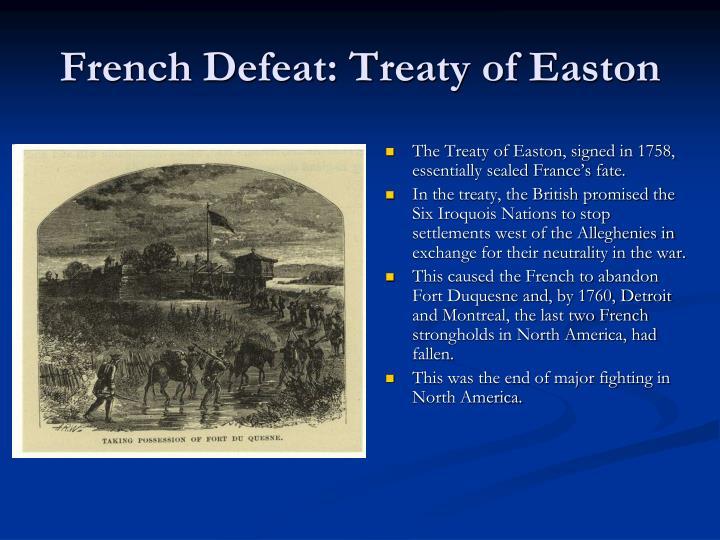 French Defeat: Treaty of Easton