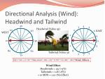 directional analysis wind headwind and tailwind