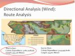 directional analysis wind route analysis