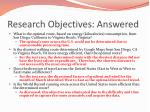research objectives answered