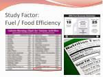 study factor fuel food efficiency
