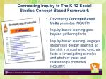 connecting inquiry to the k 12 social studies concept based framework