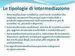 le tipologie di intermediazione