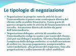 le tipologie di negoziazione