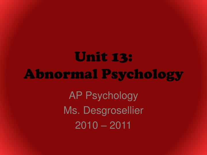 unit 13 abnormal psychology n.