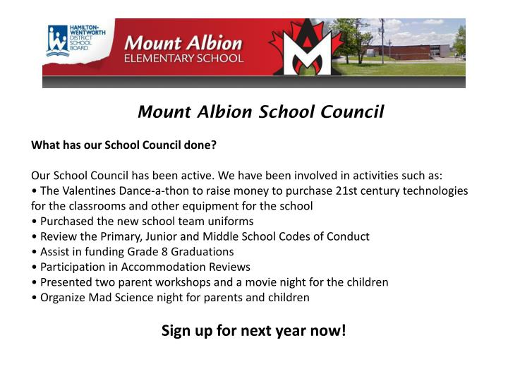 Mount Albion School Council