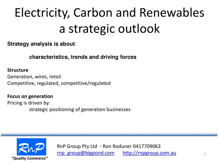 Electricity carbon and renewables a strategic outlook