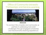 office of community university partnerships and service learning