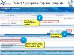 select appropriate expense template