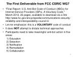 the first deliverable from fcc csric wg7