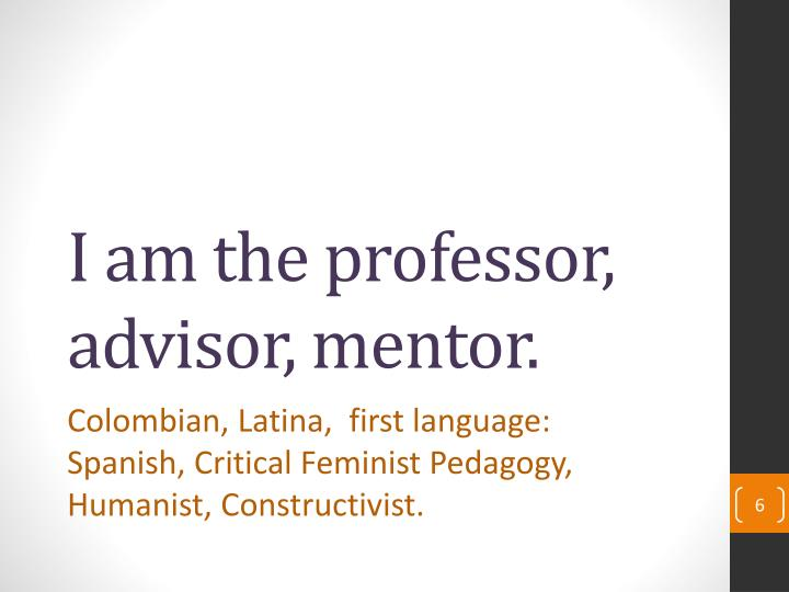 I am the professor, advisor, mentor.