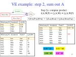 ve example step 2 sum out a2